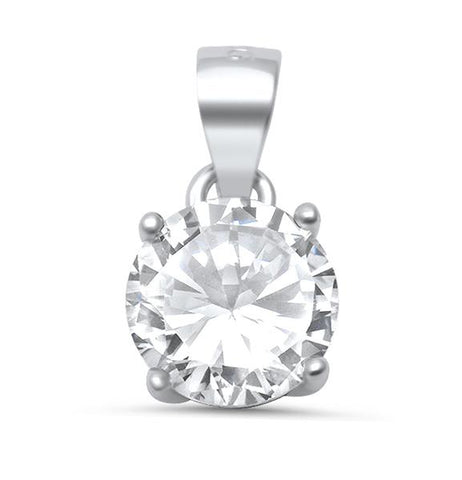 Round Cubic Zirconia .925 Sterling Silver Solitaire Pendant