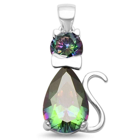 Rainbow Topaz Cat .925 Sterling Silver Pendant