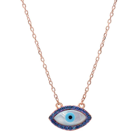 Rose Gold Plated Sapphire Evil Eye .925 Sterling Silver Pendant Necklace
