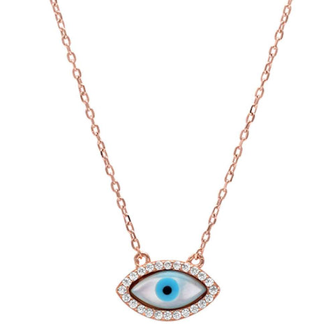 Rose Gold Plated Cubic Zirconia Evil Eye .925 Sterling Silver Pendant Necklace