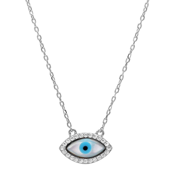Cubic Zirconia Evil eye .925 Sterling Silver Pendant Necklace
