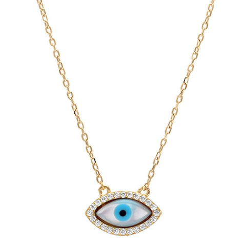 Yellow Gold Plated Cubic Zirconia Evil eye .925 Sterling Silver Pendant Necklace