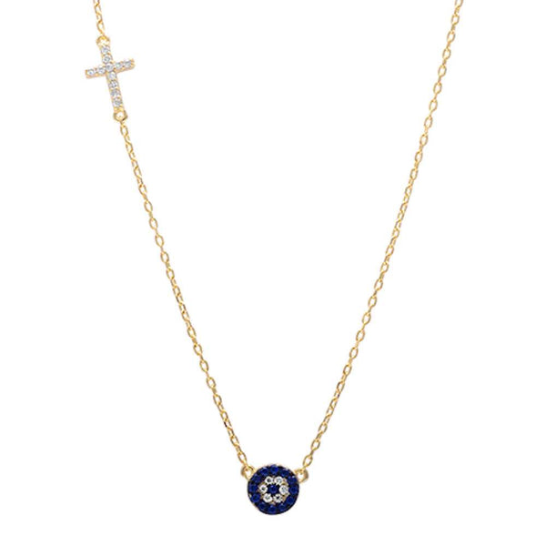 Yellow Gold Plated Sapphire & Cubic Zirconia Evil Eye  .925 Sterling Silver Pendant Necklace