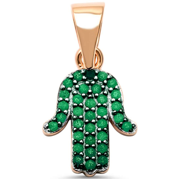 Rose Gold Pltd Emerald Hand of Hamsa Charm .925 Sterling Silver Pendant