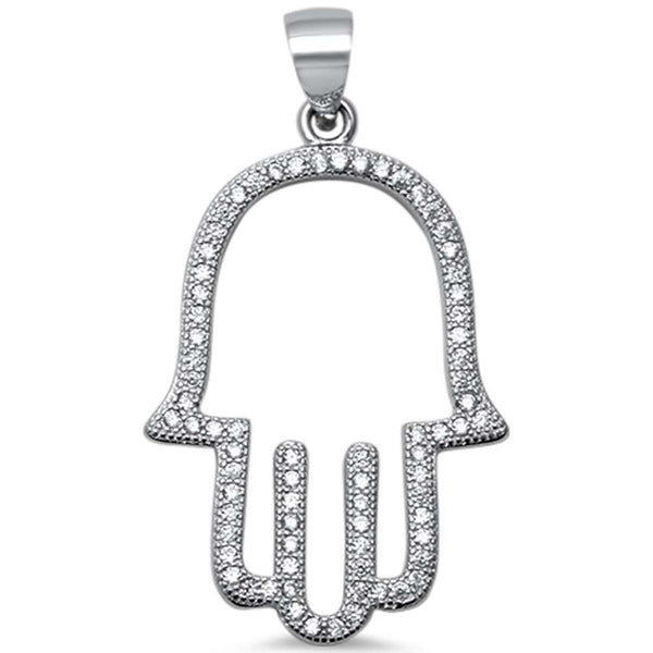 Trendy! Cubic Zirconia Hand of Hamsa .925 Sterling Silver Pendant 1.4