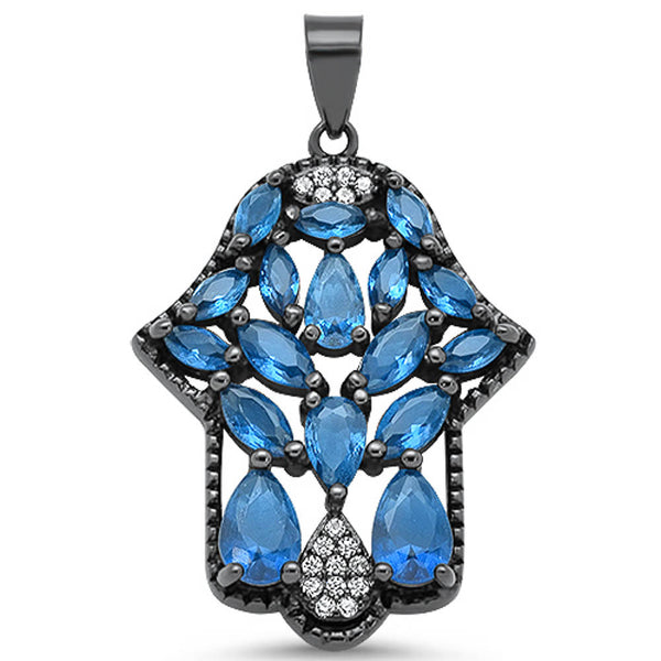 Black Plated Blue Sapphire & Cubic Zirconia Gemstone Hand of Hamsa .925 Sterling Silver Pendant