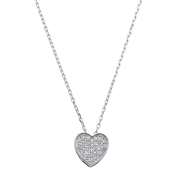 Cubic Zirconia Heart Shape .925 Sterling Silver Necklace