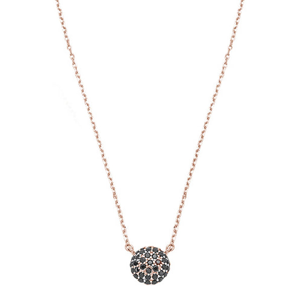 Rose Gold Plated Round Pave Black Onyx  .925 Sterling Silver Necklace