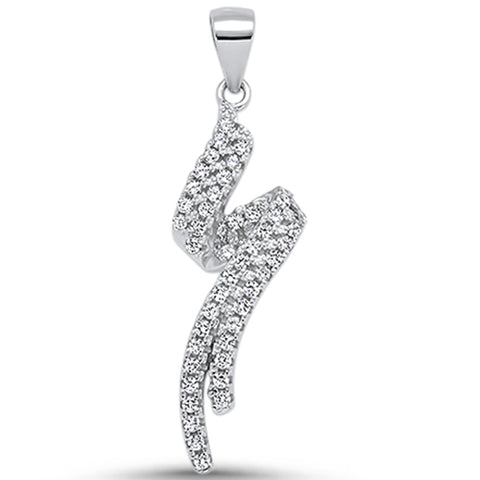 Cubic Zirconia Spiral Design .925 Sterling Silver Pendant