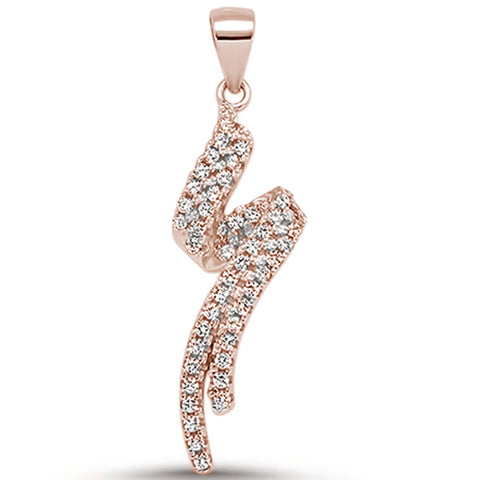 Rose Gold Plated Cubic Zirconia Spiral Design .925 Sterling Silver Pendant