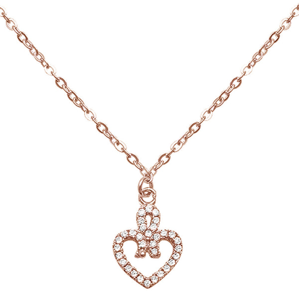 Rose Gold Plated Infinite Love Heart Cz .925 Sterling Silver Necklace