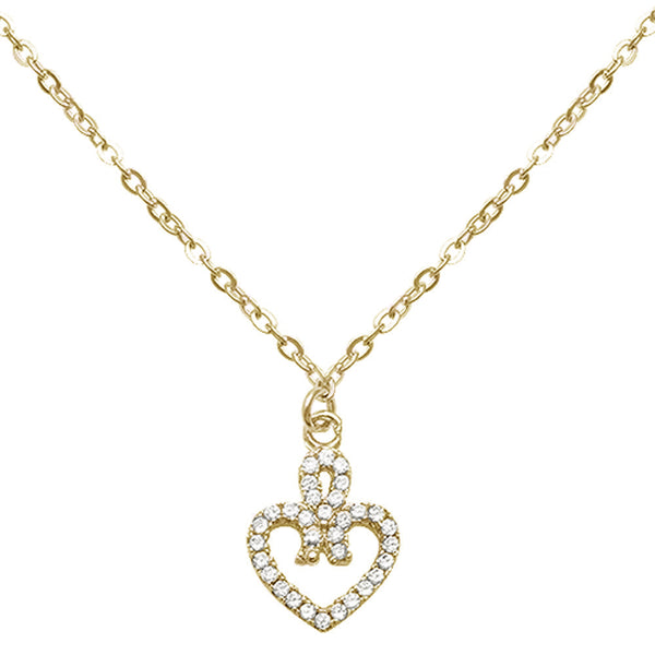 Yellow Gold Plated Infinite Love Heart Cz .925 Sterling Silver Necklace