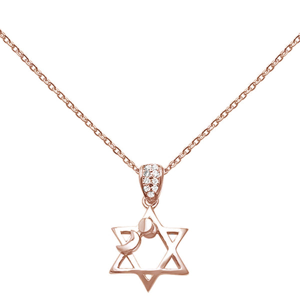 Cubic Zirconia Star Of David Sun & Moon .925 Sterling Silver Necklace