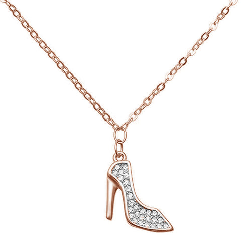 Trendy High Heel Rose Gold Plated Cz .925 Sterling Silver Necklace