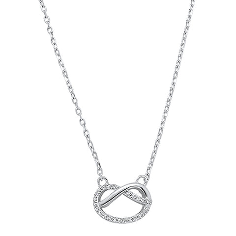 Micro Pave Cubic Zirconia Infinity Love Knot .925 Sterling Silver Necklace