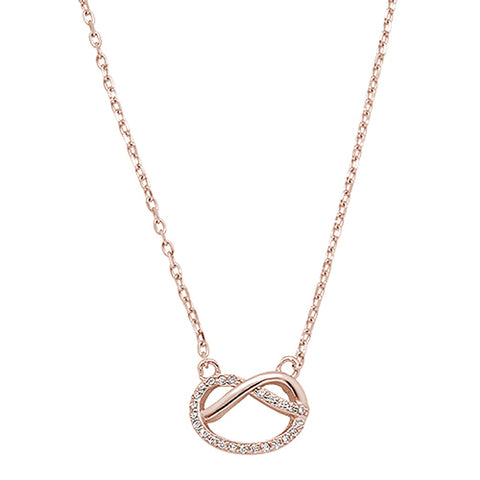 Rose Gold Plated Micro Pave Cubic Zirconia Infinity Love Knot .925 Sterling Silver Necklace