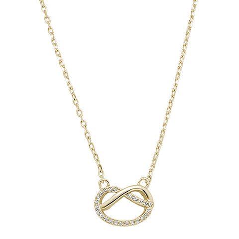 Yellow Gold Plated Micro Pave Cubic Zirconia Infinity Love Knot .925 Sterling Silver Necklace