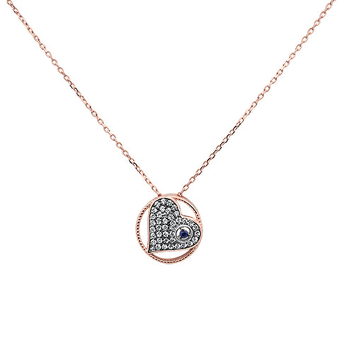 Rose Gold Plated Heart Cz & Blue Sapphire Evil Eye Design .925 Sterling Silver Necklace