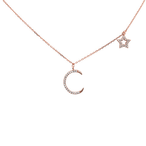 Rose Gold Plated Moon & Star Cz Design .925 Sterling Silver Necklace