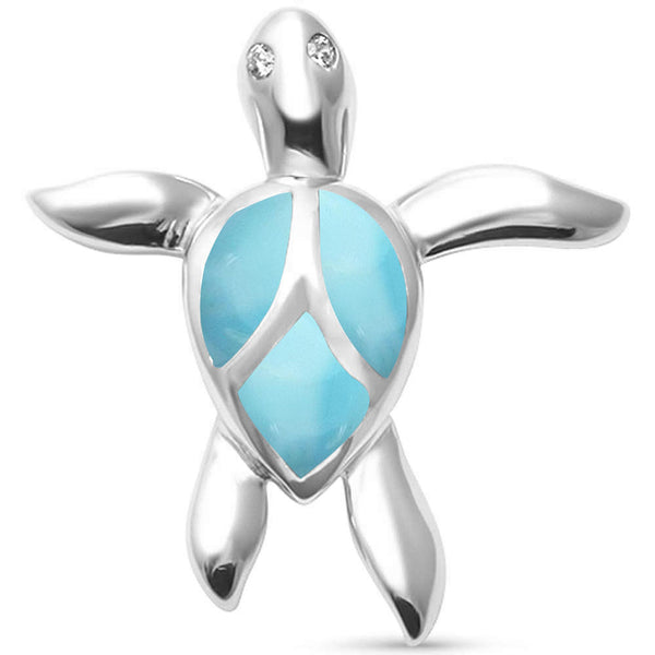 Cute Natural Larimar Turtle  .925 Sterling Silver Pendant