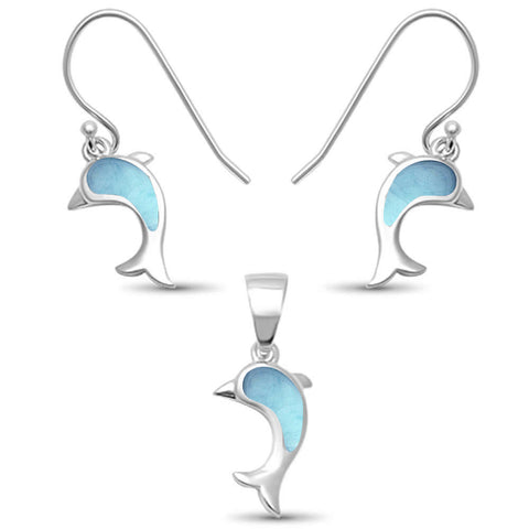 Larimar Dolphin Dangle .925 Sterling Silver Earring Set