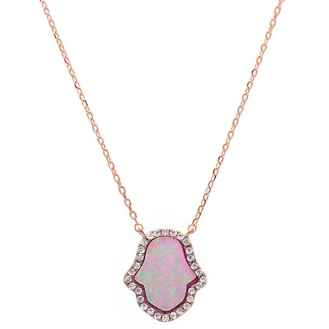Rose Gold Plated Pink Opal Hamsa .925 Sterling Silver Pendant Necklace
