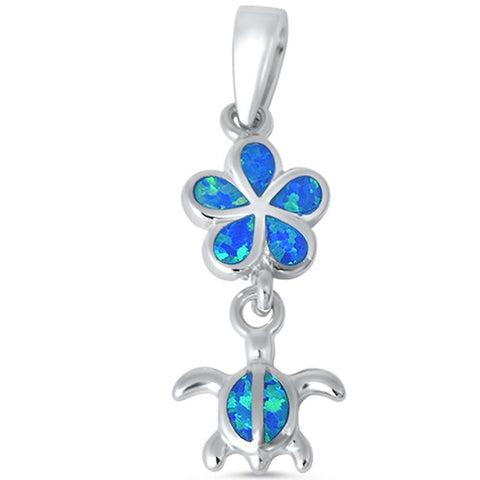 Blue Opal Plumeria and Turtle .925 Sterling Silver Pendant
