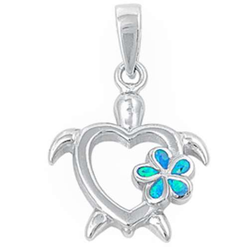 Turtle Pendant with Blue Opal Flower .925 Sterling Silver