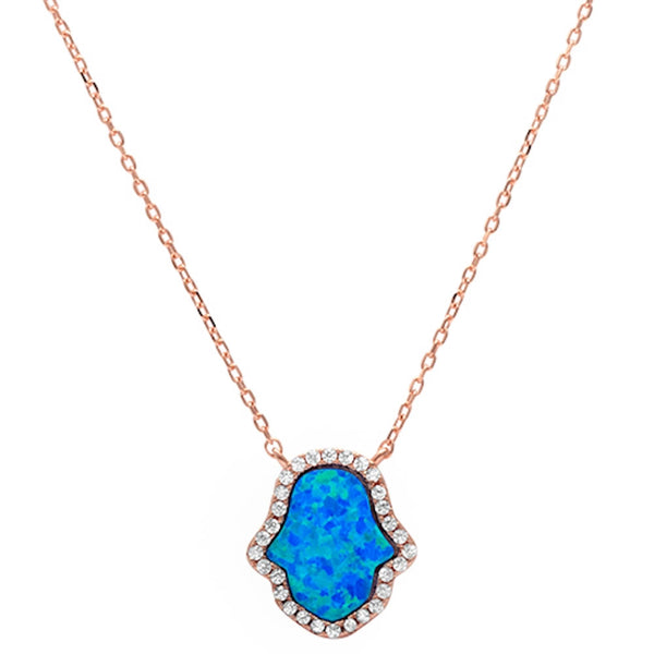 Rose Gold Plated Blue Opal Hamsa .925 Sterling Silver Pendant Necklace