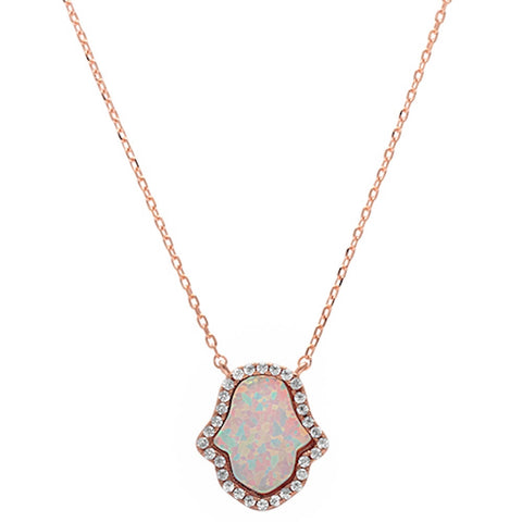 Rose Gold Plated White Opal Hamsa .925 Sterling Silver Pendant Necklace