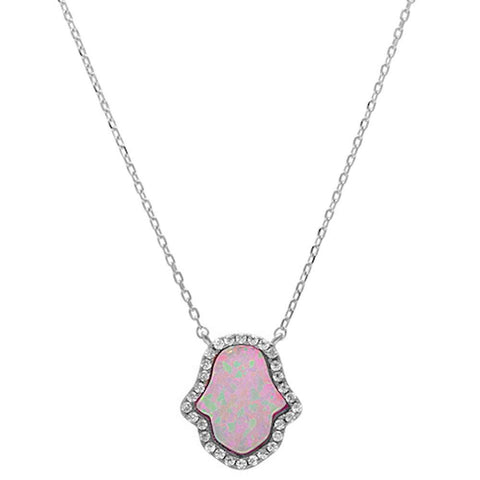 Pink Opal Hamsa .925 Sterling Silver Pendant Necklace