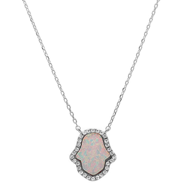 White Opal Hamsa .925 Sterling Silver Pendant Necklace