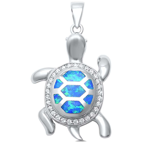 Blue Opal with CZ Turtle .925 Sterling Silver Pendant