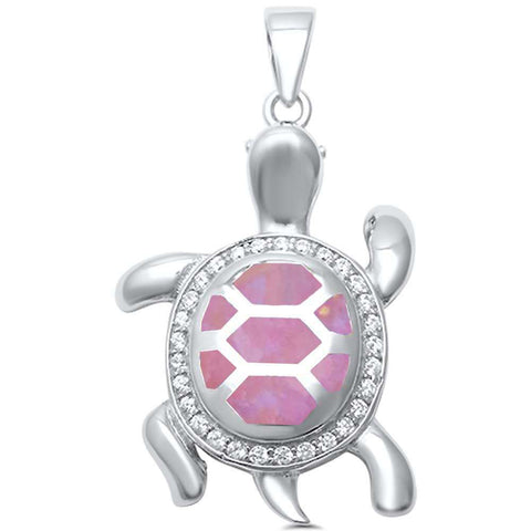 Pink Opal with CZ Turtle .925 Sterling Silver Pendant