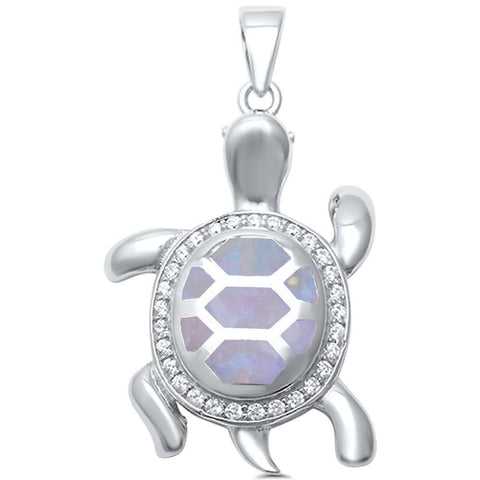White Opal with CZ Turtle .925 Sterling Silver Pendant