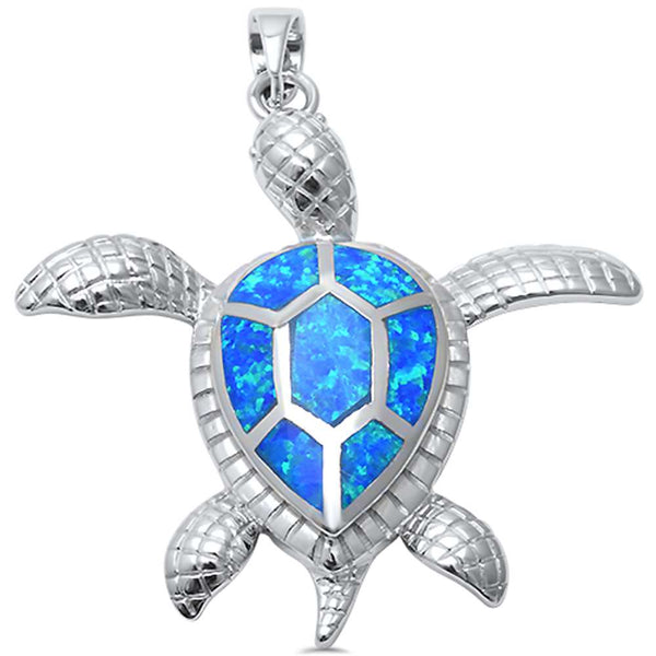 Blue Opal Turtle Beach .925 Sterling Silver Pendant