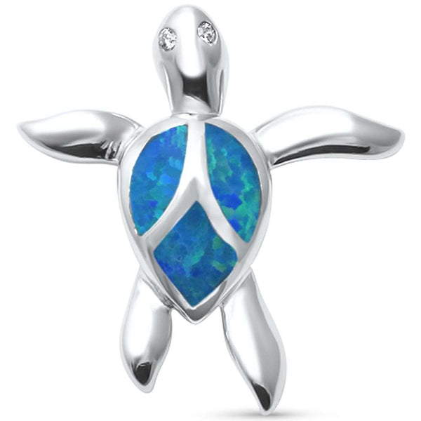 Cute Blue Opal Turtle  .925 Sterling Silver Pendant