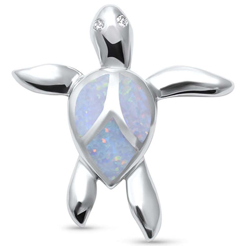 Cute White Opal Turtle  .925 Sterling Silver Pendant
