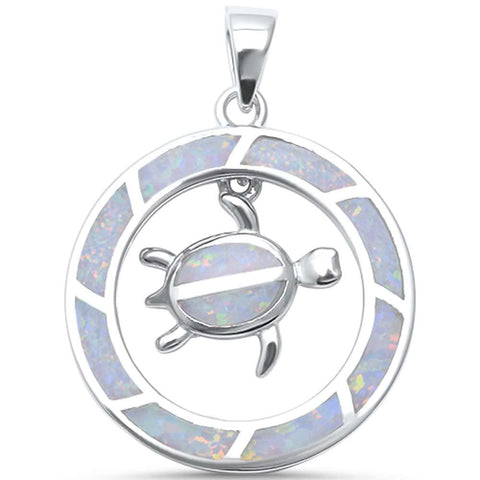Cute White Opal Turtle in Round Shape  .925 Sterling Silver Pendant