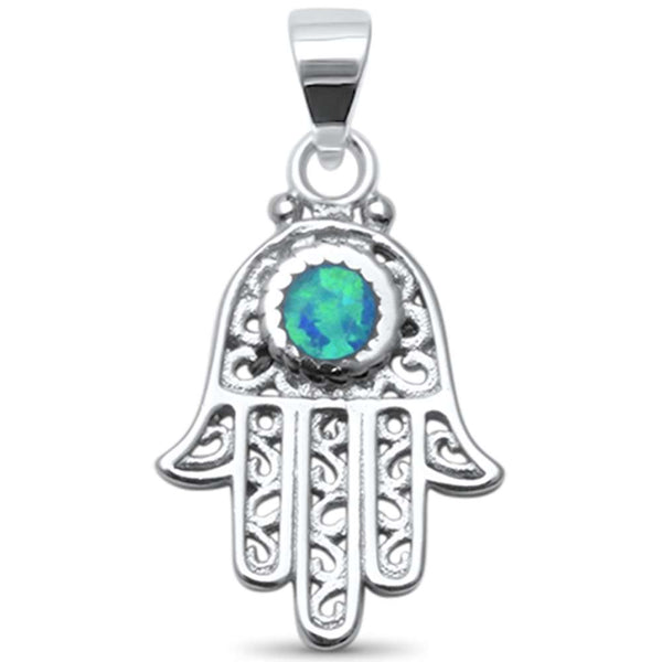 Blue Opal Hand of Hamsa .925 Sterling Silver Charm Pendant