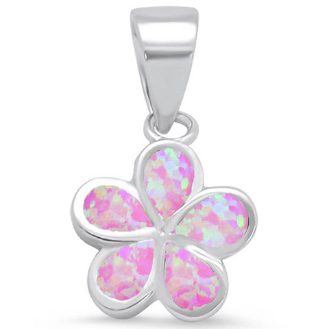Pink Opal Plumeria .925 Sterling Silver Pendant