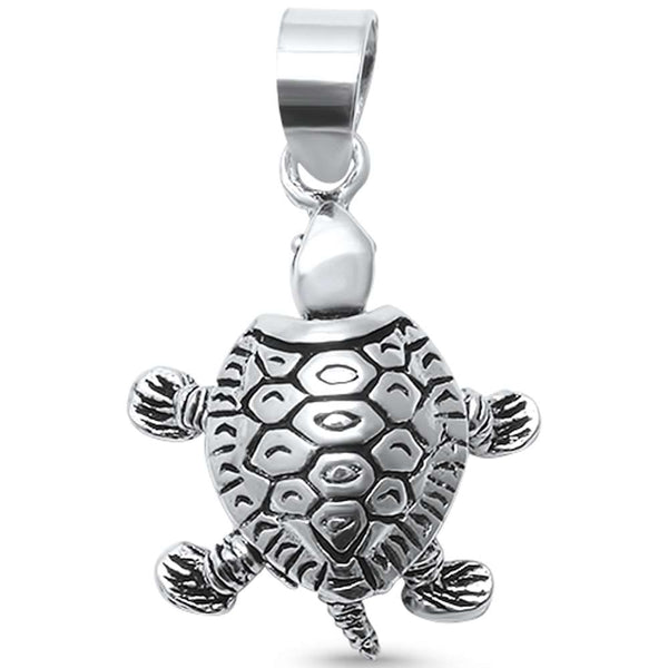 Plain Moving Turtle  .925 Sterling Silver Pendant
