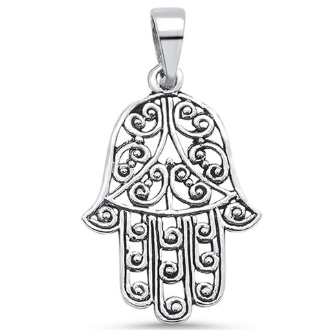 Plain Hamsa Ring .925 Sterling Silver Pendant