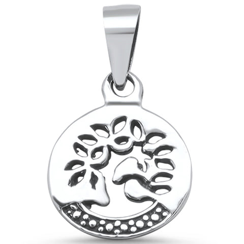 .925 Sterling Silver Plain Tree of life Family Tree Charm Pendant