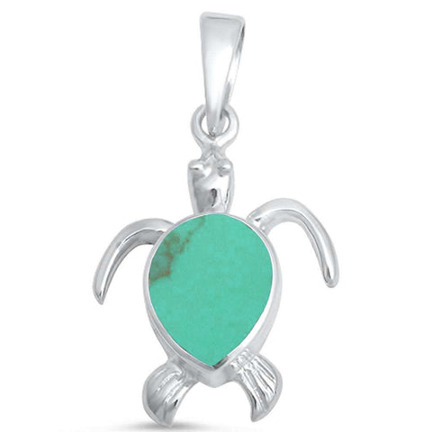 Green Turquoise Turtle .925 Sterling Silver Pendant