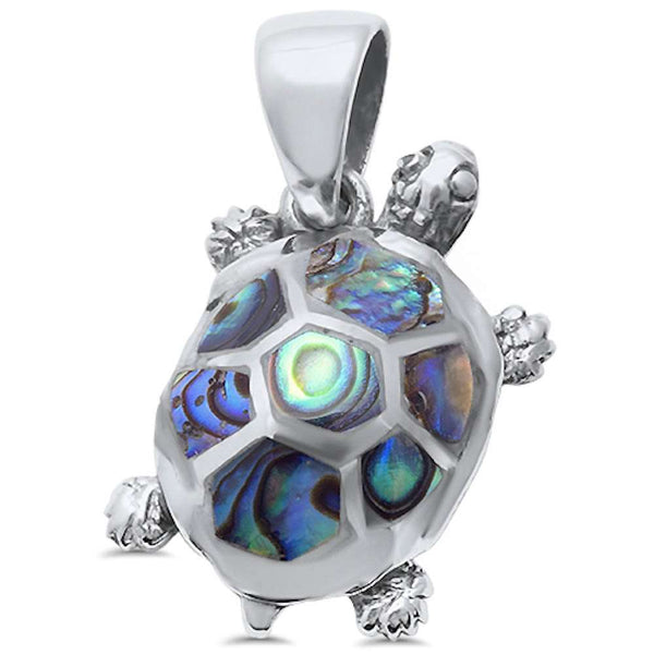 Abalone Shell Turtle .925 Sterling Silver Pendant