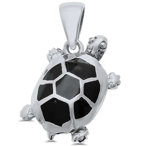 Black Onyx Turtle .925 Sterling Silver Pendant
