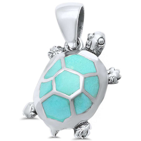 Turquoise Turtle .925 Sterling Silver Pendant