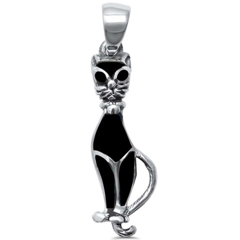 Trendy! Abalone Cat  .925 Sterling Silver Charm Pendant