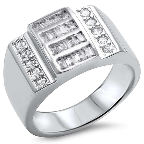 Men's Baguette Cubic Zirconia Solid Sterling Silver .925 Sterling Silver Ring sizes 9-13